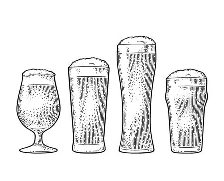 Different types beer glasses. Vintage black vector engraving illustration. Isolated on white background.