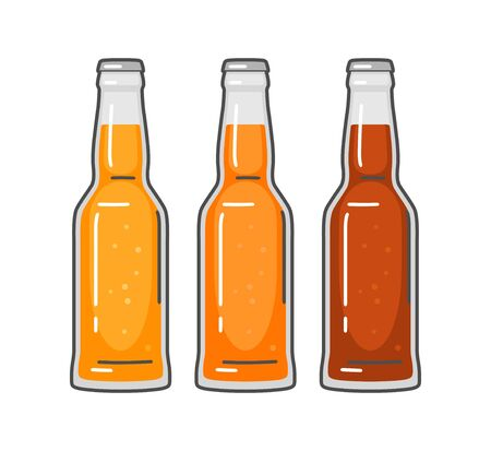 Bottle with different types beer - lager, ale. Vintage vector flat illustration. Isolated on white background. For emblem, web, info graphic