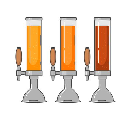 Beer tower with different types beer - lager, ale. Vintage vector flat illustration. Isolated on white background. For emblem, web, info graphic