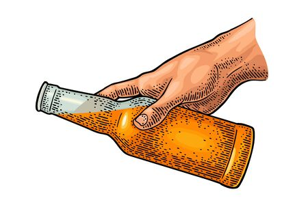 Man hand pours beer from a bottle. Vintage vector color engraving illustration for web, poster, invitation to party. Isolated on white background.