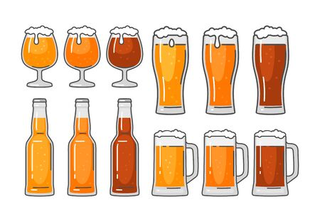 Glass and bottle with different types beer - lager, ale. Vintage vector flat illustration. Isolated on white background. For emblem, web, info graphic