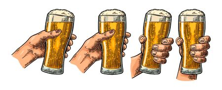 Man and woman hands holding and clinking with beer glass. Vintage vector color engraving illustration for web, poster, invitation to party. Isolated on white background.