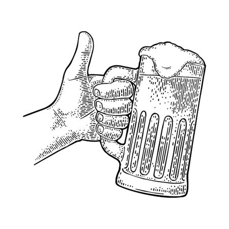 Male hand holding beer glass and showing symbol Like. Making thumb up gesture. Vector black vintage engraving isolated on white background. Hand drawn design sign for web, poster, invitation to party Иллюстрация