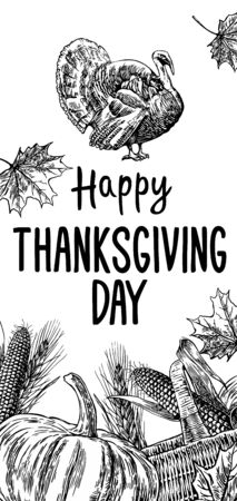Hand drawn thanksgiving day with leaves, pumpkin, corn cob, turkey, ear and spica on white background. Vector Vintage illustration for greeting card. 일러스트