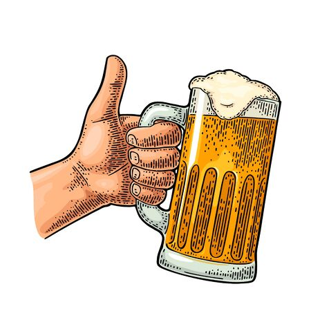 Male hand holding beer glass and showing symbol Like. Making thumb up gesture. Vector color vintage engraving isolated on white background. Hand drawn design sign for web, poster, invitation to party