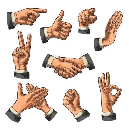 Signe de la main masculine. Comme, poignée de main, ok, arrêt, doigt du milieu vers le haut, victoire, geste de pointage. Vector illustration gravée vintage couleur fond blanc isolé