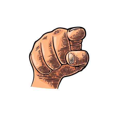 Female hand showing a fig sign. Vector color vintage engraved illustration isolated on a white background. Hand sign for web, poster, info graphic