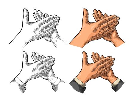Man clapping hands, applause sign. Vector color vintage engraved illustration. Isolated on white background.