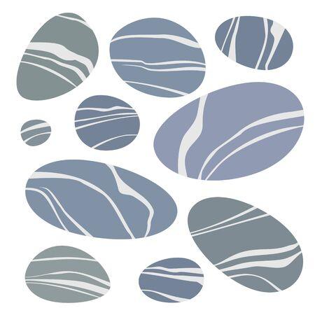Impostare pietre grigie lisce. Icone di ciottoli di mare. Colore piatto illustrazione vettoriale per informazioni grafiche, poster, web. Isolato su sfondo bianco.