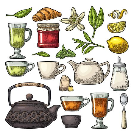 Set tea. Cup, branch, leaf, kettle, flower, lemon, croissant, bag, sugar shaker. Vector color vintage engraving illustration for label. Isolated on white background