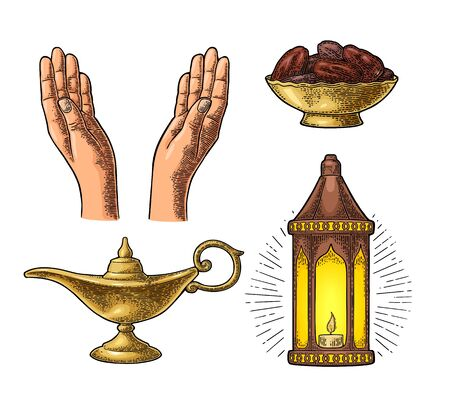 Two Praying Hands, arabic hanging lamp with chain, Aladdin magic lamp and dates fruit in the bowl. For poster Ramadan kareem.