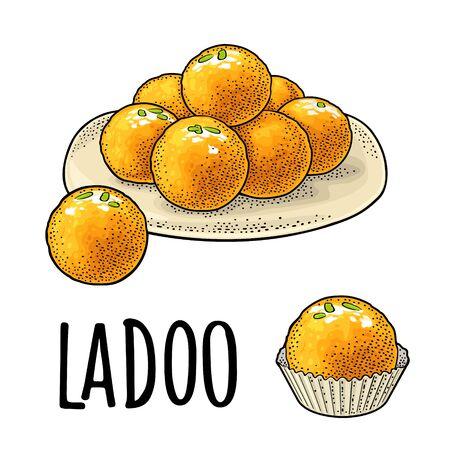 Süßigkeiten im Teller und einzeln. Indisches traditionelles Essen. Ladoo-Schriftzug. Vektorfarbe Vintage Gravur Illustration. Isoliert auf weißem Hintergrund. Handgezeichnetes Gestaltungselement für Menü, Poster, Web Vektorgrafik