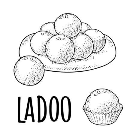 Sweets in plate and single. Indian traditional food. Ladoo lettering. Vector black vintage engraving illustration. Isolated on white background. Hand drawn design element for menu, poster, web