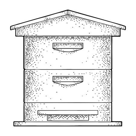 Beehive. Vector vintage engraved illustration. Isolated on white background.
