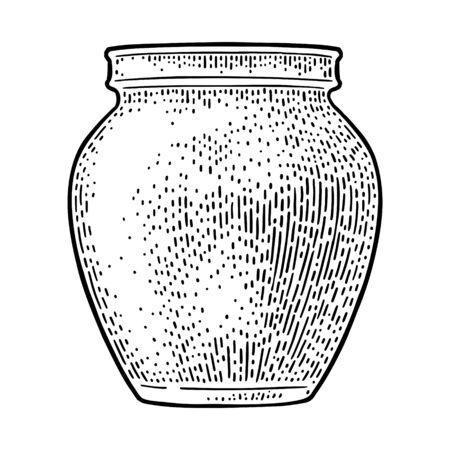 Clay jar for jam or honey. Vector vintage black engraving
