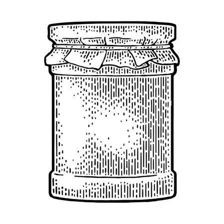 Glass Jar with jam and packaging paper