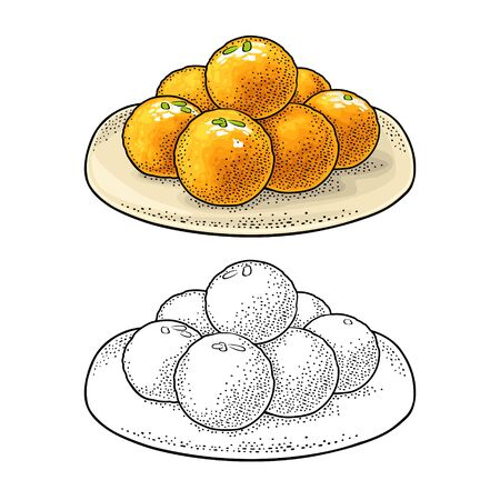 Indian traditional sweets Ladoo in plate. Vector vintage engraving