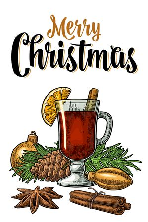 Mulled wine with glass, toy, pine cone, branch of fir tree and spice ingredients. Merry Christmas calligraphic lettering. Vector color vintage engraving illustration isolated on white background