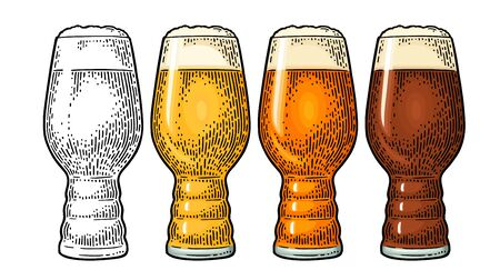 Beer Classics IPA Glas. Vintage color vector engraving illustration.