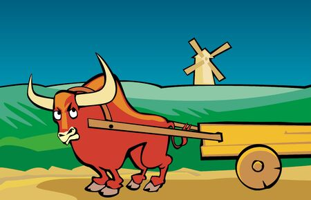 Angry bull drags the cart along the road. Rural landscape with a mill and fields. Color vector flat illustration.