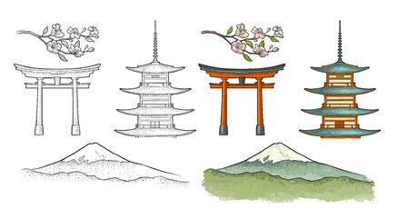 日本の山富士。ヴィンテージカラーベクター彫刻イラスト 写真素材 - 131787410