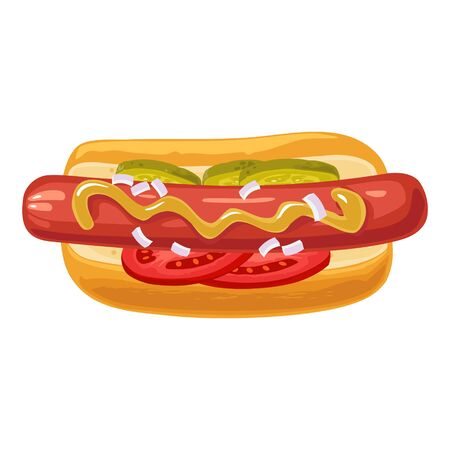 Hotdog with with tomato, cucumber, mustard, onion. Top view. Vector color flat illustration for poster, menus, brochure, web. Icon isolated on white background. Illustration