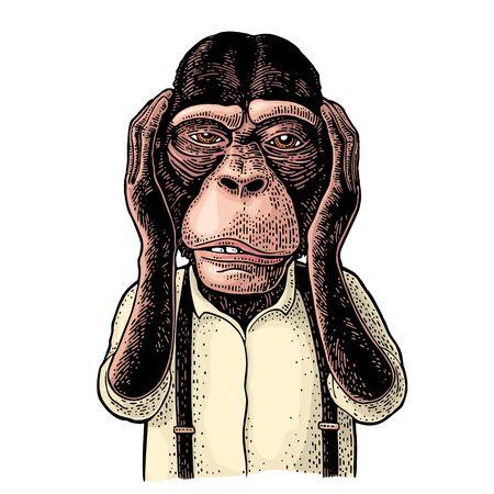 Affen mit den Händen an den Ohren. Vintage schwarze Gravur Vektorgrafik