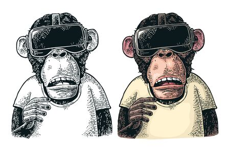 Monkey wearing virtual reality headset and t-shirt. Vintage color engraving illustration for poster. Isolated on white background 向量圖像