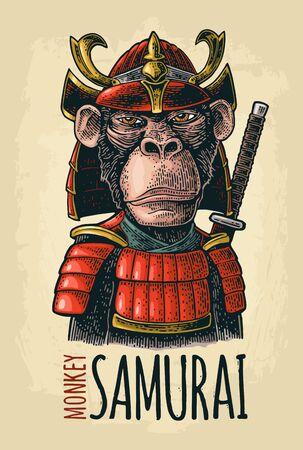 Monkey with samurai sword and japan armor. Vintage black engraving