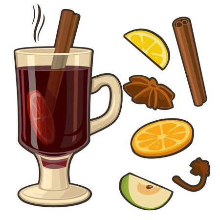 Mulled wine with glass of drink and ingredients. Vector flat illustration for greeting card, invitation, banner and poster
