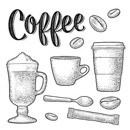 Set coffee. Sugar, beans, spoon, glass latte. Vintage vector engraving