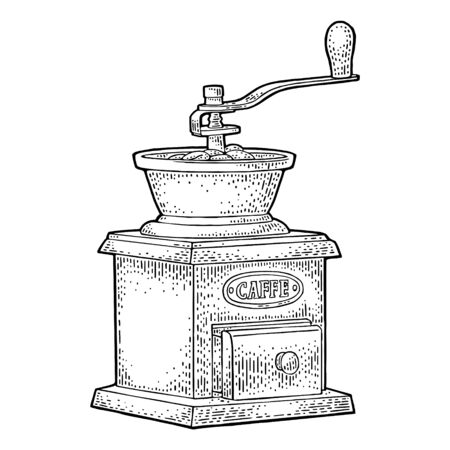 Coffee mill. Hand drawn sketch style. Vintage black vector engraving