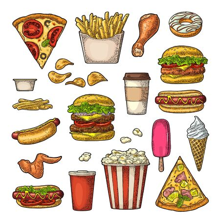 Set fast food. Cup cola, coffee, hamburger, pizza, hotdog, fry potato, carton bucket popcorn, ketchup, donut, ice cream, chips. Vector vintage color engraving illustration isolated on white