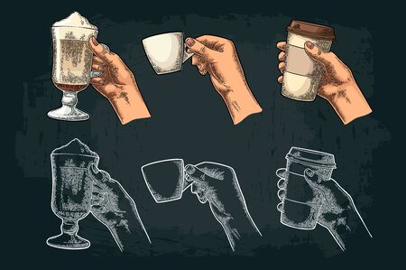 Hands holding a disposable cup of coffee with cardboard holder and glass of latte with whipped cream. Vintage white and color vector engraving illustration. Isolated on dark background 向量圖像