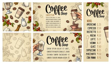 Template poster with coffee hand holding disposable cup with holder and cap, beans, cinnamon, branch, leaf, berry. Seamless pattern. Vintage color vector engraving on beige for menu with price Illusztráció