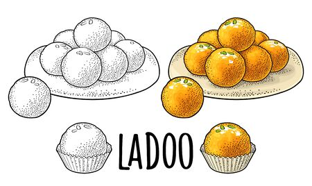 Sweets in plate and single. Indian traditional food. Ladoo lettering. Vector color vintage engraving illustration. Isolated on white background. Hand drawn design element for menu, poster, web