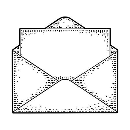 Open envelope with blank paper. Vector black vintage engraving illustration. Hand drawn design element