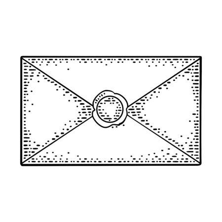 Close kraft paper envelope with sealing wax. Vector black vintage engraving
