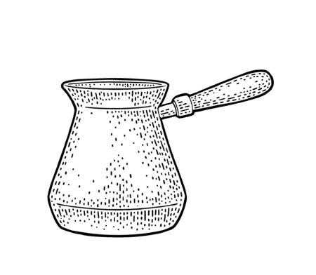 Turkish copper coffee pot. Vintage black vector engraving illustration for label, web. Isolated on white background. Hand drawn sketch style. Ilustração