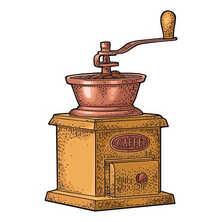 Coffee mill. Hand drawn sketch style. Vintage color vector engraving 向量圖像