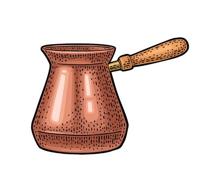 Turkish copper coffee pot. Vintage color vector engraving illustration for label, web. Isolated on white background. Hand drawn sketch style. Ilustração