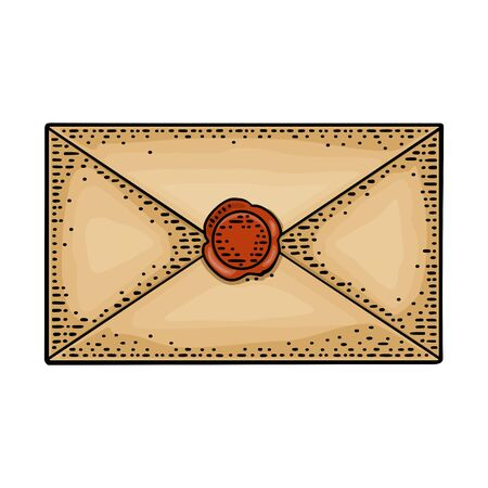 Close kraft paper envelope with sealing wax. Vector color vintage engraving