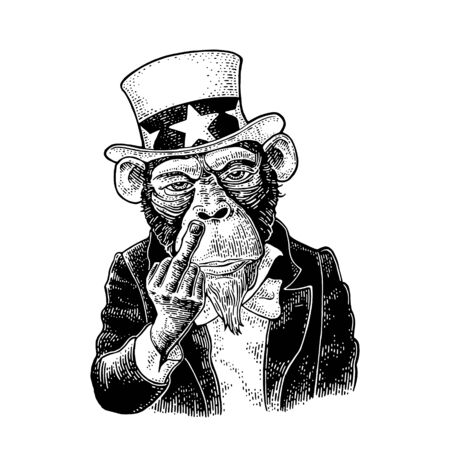 Monkey Uncle Sam with raised middle finger. Sign Fuck you. Vintage black engraving illustration for recruiting poster. Isolated on white background. Hand drawn design element