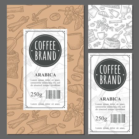 Template label coffee with seamless pattern. Glass latte, sugar, beans, branch, scoop, sack, grinder, cup. Vector vintage monochrome engraving illustration isolated on white Illusztráció