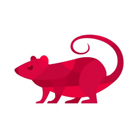 Red rat. Symbol Chinese 2020 new year. Vector flat illustration