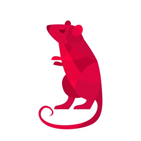 Red rat. Symbol Chinese 2020 new year. Vector color flat illustration