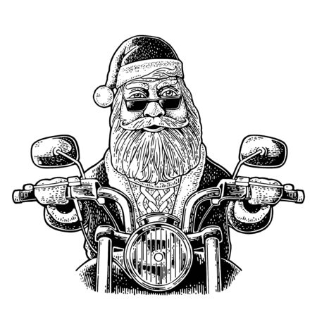 Santa Claus in hat, coat, sweater, glasses riding a classic chopper bike. Front view. Vector vintage black engraving illustration isolated on white. For poster New Year and Merry Christmas biker club