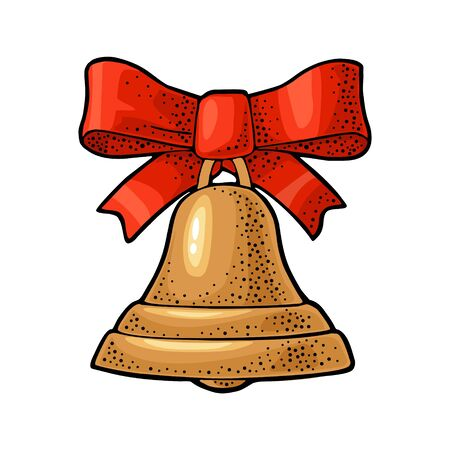 Christmas gold bell with red bow. Vintage engraving  イラスト・ベクター素材