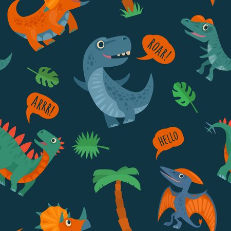Seamless pattern with dinosaurs. Vector colorful flat icon isolated Illustration