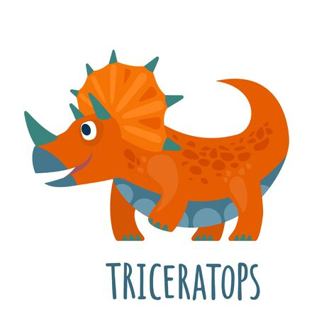 Dinosaur. Vector colorful flat illustration isolated on white. Lettering triceratops.
